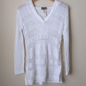 Tommy Bahama White Crochet Swim Cover, M